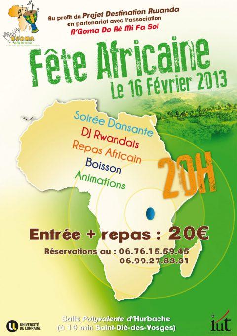 Soirée africaine le 16 février 2013 à la salle polyvalente d'Hurbache