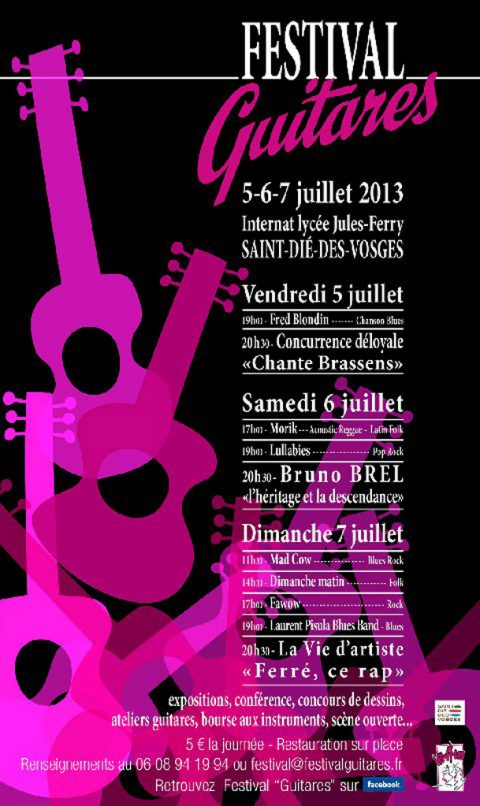 «Festival Guitares» les 5, 6 et 7 juillet 2013 à Saint-Dié