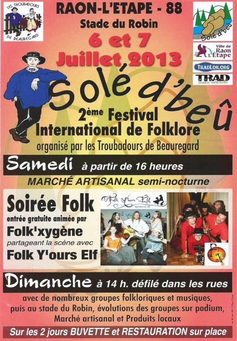 «Solé d'beû» : 2ème Festival International de Folklore les 6 et 7 juillet 2013 à Raon-l'Etape