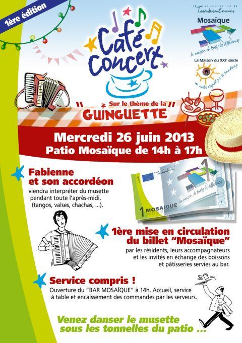 1er «Café-concert Mosaïque» sur le thème de la Guinguette et du Musette le 26 juin à partir de14h00