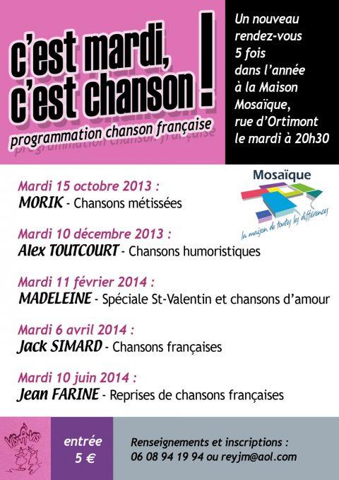 c'est mardi, c'est chanson ! programmation chanson française à Mosaïque