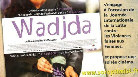 Projection du film « Wadjda » le 25 novembre au cinéma l'Empire de Saint-Dié par l'association Soroptimist