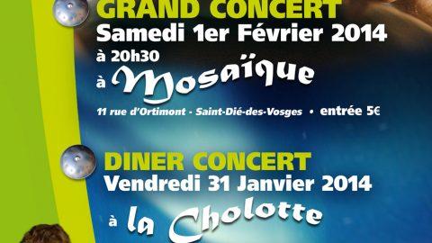 Grand Concert de Francesco Agnello le samedi 1er Février 2014 à Mosaïque