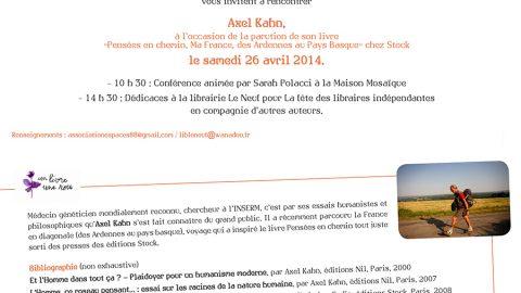 Rendez-vous avec Axel Kahn samedi 26 avril à 10h30 à Mosaïque