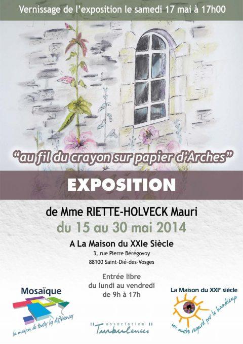 Exposition des dessins de Mme Riette-Holveck du 15 au 30 mai à La Maison du XXIe siècle