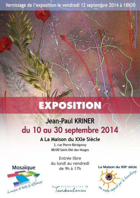 Exposition des œuvres de Jean-Paul Kriner du 10 au 30 septembre 2014