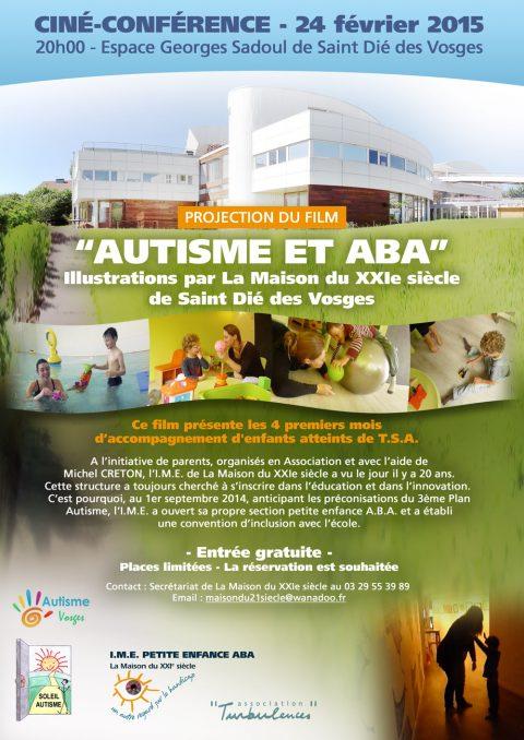 Invitation à la Ciné-conférence sur le thème «Autisme et ABA» le 24 février 2015 à l'Espace G. Sadoul de Saint Dié