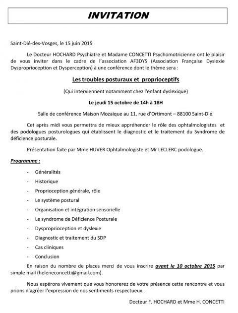 Conférence sur le thème «Les troubles posturaux et proprioceptifs» à Mosaïque le 15 octobre 2015