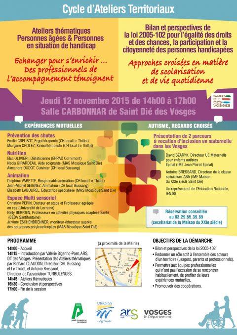 Cycle d'Ateliers Territoriaux jeudi 12 novembre 2015 à Saint Dié